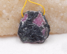 144ct Raw Ruby Pendant, Ruby bead, Ruby Slices, Rose Cut Slices H940