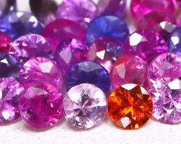 1.69Ct 2.1mm Round Natural Fancy Pink Color Sapphire Lot B3721