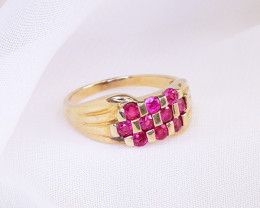 Untreated Burmese Ruby Cluster 10kt Yellow Gold Ring
