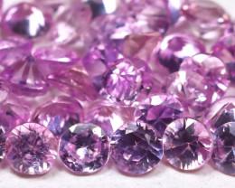 2.64Ct Calibrate 2.2mm Natural Vivid Pink Sapphire Round Lot B3751