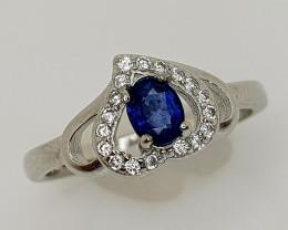 14CT BLUE SAPPHIRE 925 SILVER RING 7 BEST QUALITY GEMSTONE IIGC55