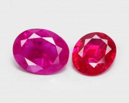 *NoReserve*1.22 Cts 2 Pcs  Pinkish Red Natural Ruby BURMA Gemstone
