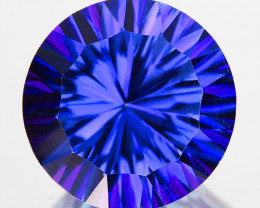 ~WONDER~ 3.95 Cts Tanzanite Color Natural Topaz 10mm Round Concave Brazil