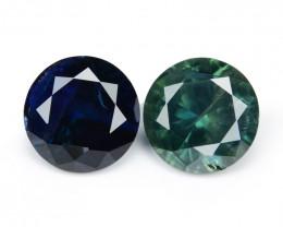 Blue Green Sapphire 1.39 Cts 2 Pcs Amazing Rare Natural Fancy Loose Gemstoe