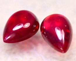 Ruby 7.75Ct 2Pcs Ruby Cabochon Madagascar Blood Red Ruby EF0310/A20