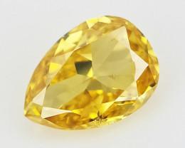 0.08 cts , Natural Yellow Diamond , Loose Pear Diamond