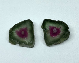 9.40 Cts Natural Tourmaline slices perfect pair  Gemstone