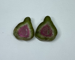 9.78 Cts Natural perfect watermelon Tourmaline slices pair Gemstone