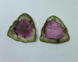 24.65 Cts Natural perfect watermelon  Tourmaline slices pair  Gemstone