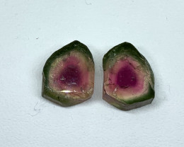 9.55 Cts Natural perfect watermelon  Tourmaline slices pair Gemstone