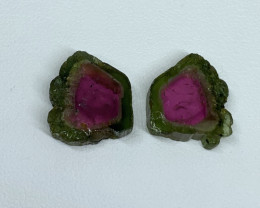 12.26 Cts Natural perfect watermelon Tourmaline slices pair Gemstone