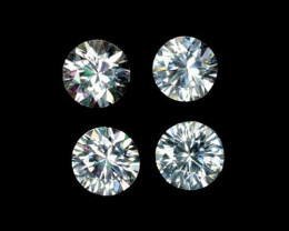 4.75 Cts Natural Sparkling White Zircon 6mm Round Cut 4Pcs Tanzania