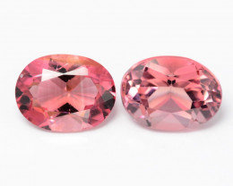 1.69 Cts 2 Pcs 6.74X4.35 mm Natural Pink Tourmaline Gemstone
