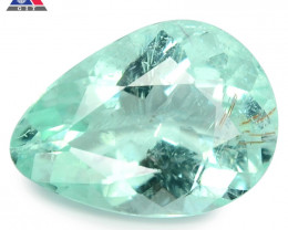 0.85 Cts GIT Certified Pear 7.81x3.32mm 100% Natural Bluish Green Paraiba T