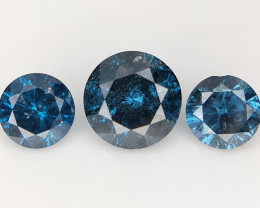 3 PCS/0.66 cts , Natural Deep Blue Diamond , Sparkling Diamonds