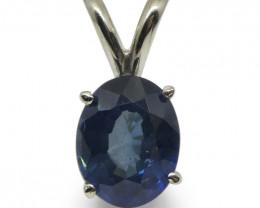 Sapphire Pendant set in 14kt White Gold