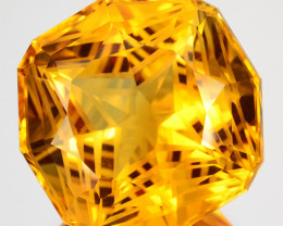 ~CUSTOM CUT~ 35.33 Cts Natural Golden Orange Citrine Fancy Cushion Brazil