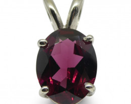 Rhodolite Garnet Pendant set in 14kt White Gold