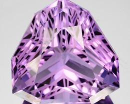 ~CUSTOM CUT~ 27.53 Cts Natural Purple Amethyst Trillion Bolivia