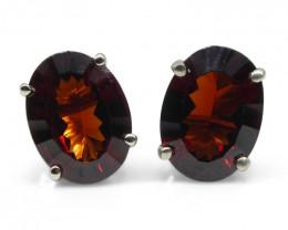 Almandine Garnet Earrings set in 14kt White Gold