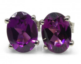 Rhodolite Garnet Earrings set in 14kt White Gold