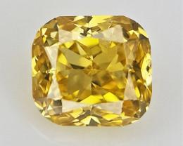 Yellow Cushion Diamond , Rare Natural Color , 0.04 cts