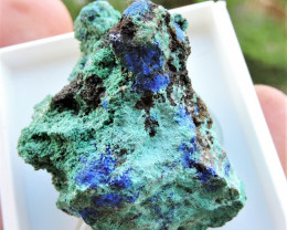 17.26g AZURITE MALACHITE SPECIMEN LAVRIO GREECE MOUNTED IN DISPLAY CASE