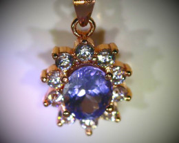 Tanzanite 1.02ct Rose Gold Finish Solid 925 Sterling Silver Pendant