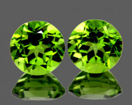 6.50 mm Round 2 pcs 2.22cts Green Peridot [VVS}