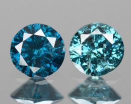 Diamond 0.16 Cts 2pcs Sparkling Rare Fancy Blue Color Natural Loose