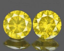 *No Reserve*0.56 Cts 2 Pcs Sparkling  Vivid Yellow Natural Loose Diamond