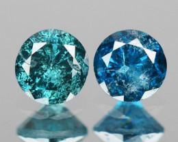 0.22 Cts 2pcs Sparkling Rare Fancy  Blue Color Natural Loose Diamond