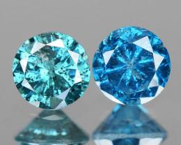 0.18 Cts 2pcs Sparkling Rare Fancy Blue Color Natural Loose Diamond
