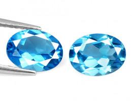 2.86 Carat 2 Pcs Blue Natural Topaz Gemstones
