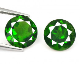 Green Chrome Diopside 2.46 Cts 2 Pcs Natural Loose Gemstone