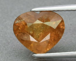 3.22ct Ceylon UNHEATED Heart Orangy Yellow Sapphire Lab Certified