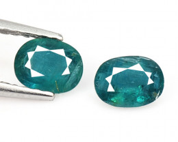 0.66 Cts 2 Pcs Bluish Green Natural Grandidierite Loose Gemstone