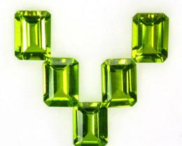 4.87 Cts Natural Parrot Green Peridot 7x5mm Emerald Cut 5Pcs Pakistan