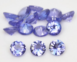 5.87 Cts 16 pcs 4.4 mm RD Violet Blue Color Natural Tanzanite Gemstone
