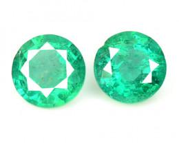 0.85 Cts 2 Pcs Natural Vivid Green Zambian Emerald Loose Gemstone