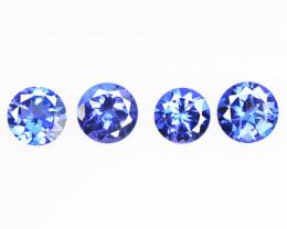 0.88 Cts 4 pcs Amazing rare AAA Violet Blue Color Natural Tanzanite Gemston