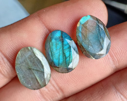 3 Pcs Labradorite Natural Gemstone Rose Cut Fancy VA1903
