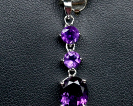 10.00Ct Sterling Silver 925 Natural Amethyst Pendant A1140