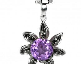 13.00Ct Sterling Silver 925 Natural Amethyst Pendant A1146