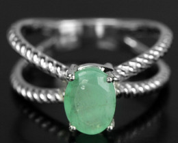 15.00Ct Sterling Silver 925 Natural Emerald Size 6.5 Ring A11