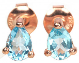 7.50Ct Sterling Silver 925 Natural Blue Topaz Earring A1148