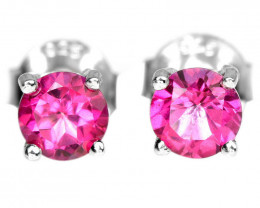 5.65Ct Sterling Silver 925 Natural Pink Topaz Earring A1154