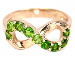 12.15Ct Sterling Silver 925 Natural Chrome Diopside Size 7.5 Ring A1155