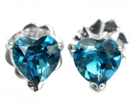 10.50Ct Sterling Silver 925 Natural London Blue Topaz Heart Earring A1158