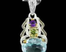 9.00Ct Sterling Silver 925 Natural Topaz Amethyst Peridot Pendant A1159